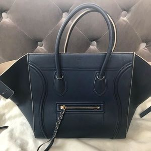 CELINE Bullhide Calfskin Phantom Luggage navy blue
